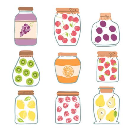 Vector set of preserved fruits in glass jars. Canned fruit illustration. Jam collection.
