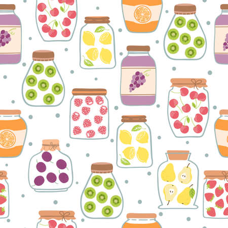 Seamless jam pattern with glass jars. Vector background with preserved fruits. 向量圖像