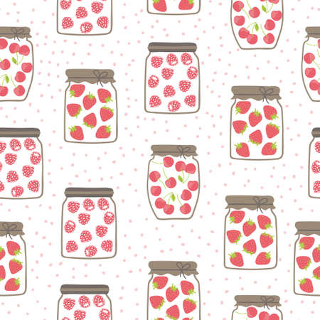 Seamless jam jars pattern with strawberry, raspberry and cherry. Homemade food illustration.