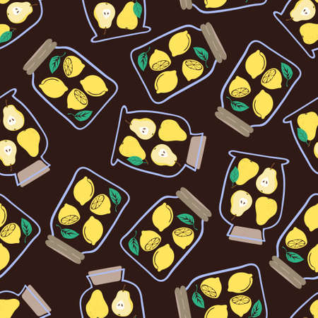 Seamless pattern with preserved fruits. Vector jam jars background.