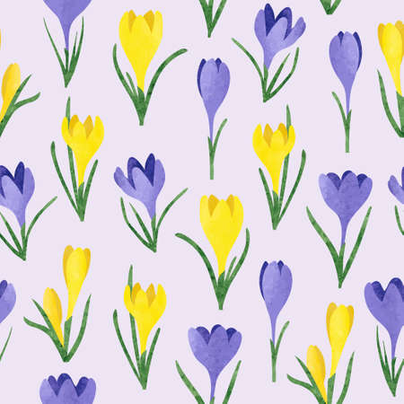 Seamless vector watercolor yellow and purple crocus flowers pattern. Spring illustration.