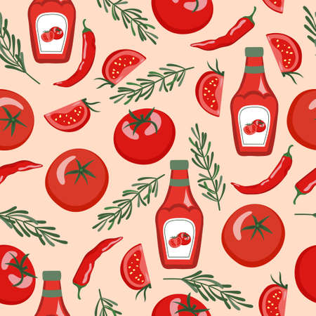 Seamless ketchup sauce pattern with sauce bottles, tomatoes, chili pappers.