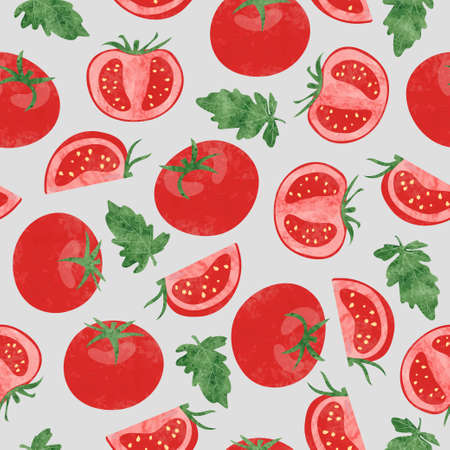 Seamless vector watercolor tomato pattern. Vegetable background
