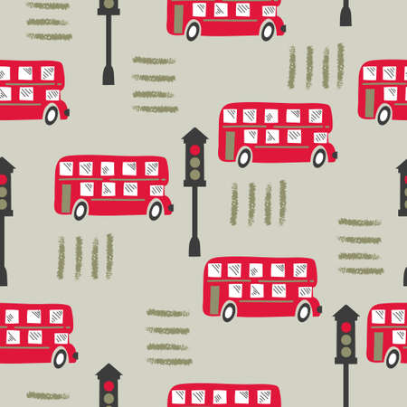 Seamless pattern with cartoon red London bus. Baby print.