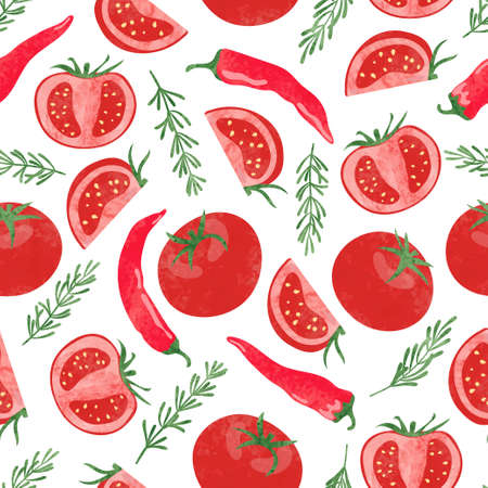 Seamless watercolor vegetable pattern with tomatoes and chili peppers.