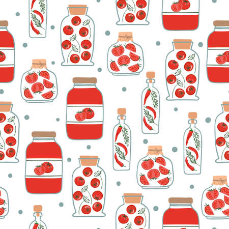 Seamless pattern with red pickled vegetables. Preserved vegetables vector background.