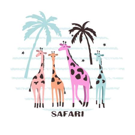 Cute cartoon giraffes vector illustration. Safari baby print.