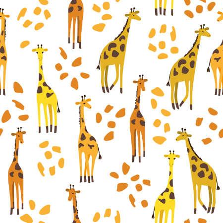 Seamless cute cartoon giraffes pattern for kids design.