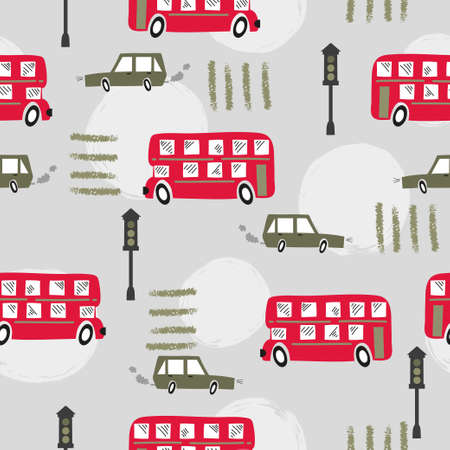 Seamless road pattern with cartoon red London bus and car. Baby print.