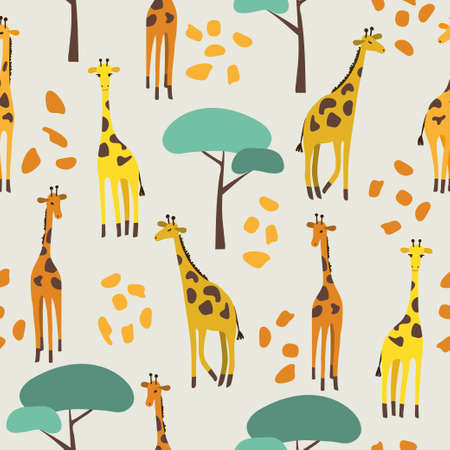 Seamless pattern with cute giraffes and trees for kids. 向量圖像