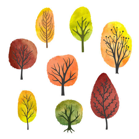 Set of abstract watercolor autumn trees. Vector illustration.