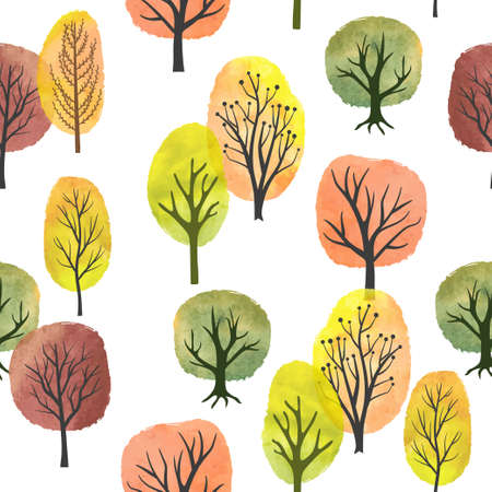 Seamless watercolor autumn trees pattern. Vector abstract autumn forest.