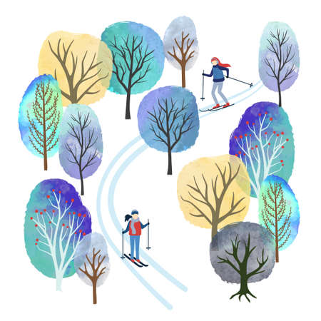 Winter landscape with skiing people vector watercolor illustration. Outdoor activities. Christmas card design.