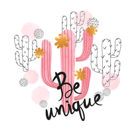 Pink watercolor cactus vector illustration. Be unique poster, birthday card design, t-shirt print.