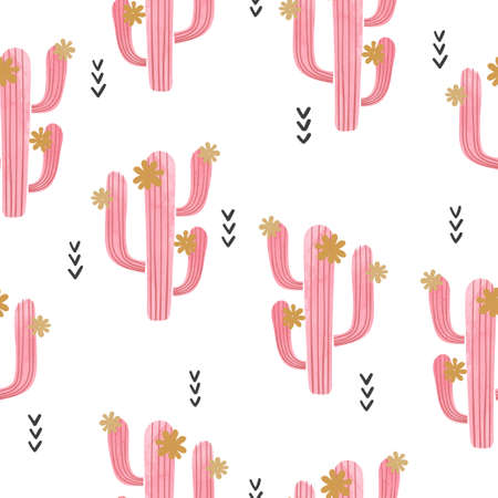 Seamless watercolor flowering cactus pattern. Vector abstract illustration with pink cactus