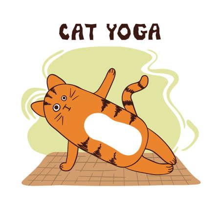 Cartoon funny yoga cat vector illustration. Yoga for kids. Vektorové ilustrace