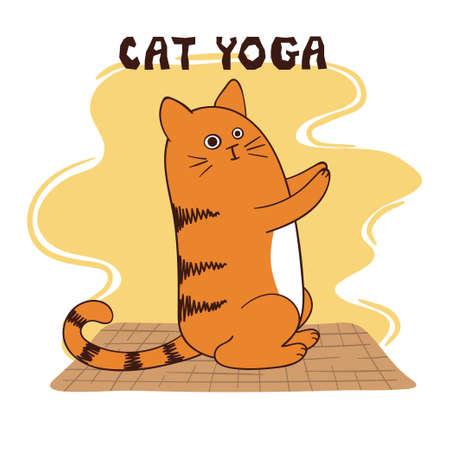 Funny yoga cat vector illustration. Yoga for kids.