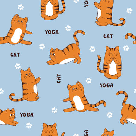 Seamless vector pattern with funny yoga cats.