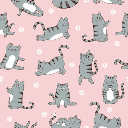 Seamless pattern with cute cartoon cats exercising seamless pattern. Vector fitness background.