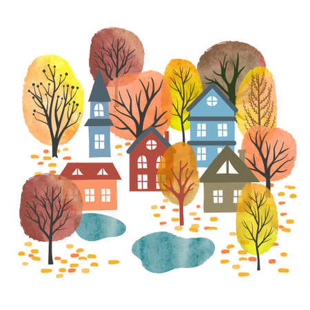 Autumn landscape. Small town vector illustration. Watercolor autumn trees and houses.