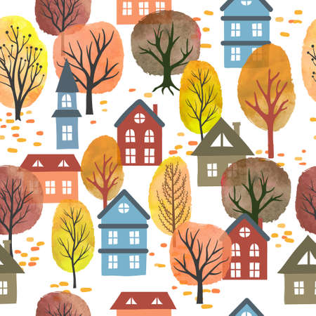 Seamless vector autumn city pattern with watercolor trees and houses. Autumn landscape. Illustration