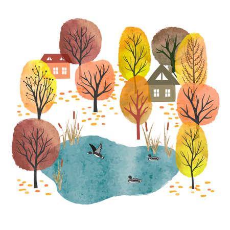 Autumn landscape. Village vector illustration. Watercolor autumn trees, pond with ducks and houses. Illusztráció