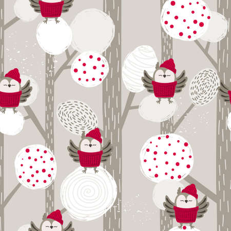 Seamless abstract Christmas pattern with cartoon owls and trees. Vector winter forest background.
