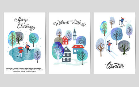 Merry Christmas card set with watercolor winter landscapes. Vector illustration. Ilustrace
