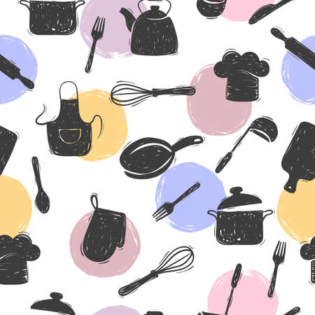 Seamless pattern with doodle kitchen utensils. Cooking food vector illustration.