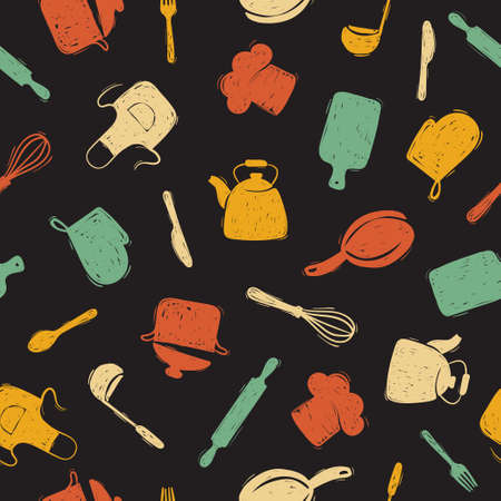 Seamless pattern with doodle kitchen utensils. Cooking food vector background