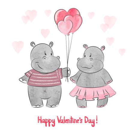Watercolor cute hippo in love. Valentines day card design.