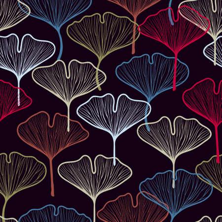 Seamless colorful ginkgo biloba leaf pattern. Textile, fabric, wallpaper design. Vettoriali
