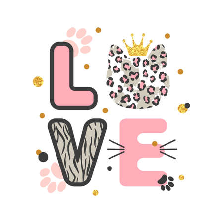 Love card with cute leopard cat  for kids. Vector illustration