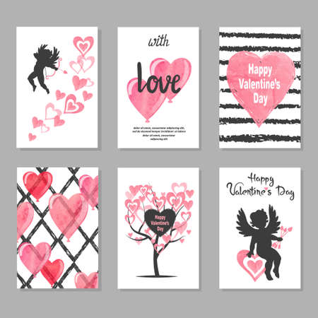 Set of Valentines day greeting cards with hearts and cupids. Love vector illustration.