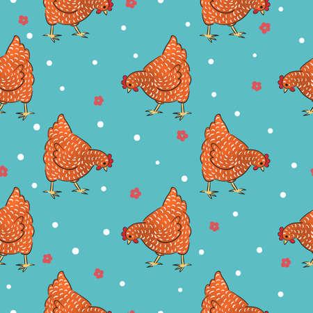 Red hens pattern. Seamless speckled chicken vector illustration.