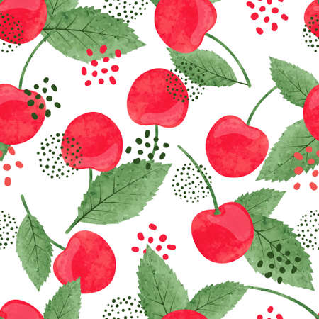 Seamless cherry pattern. Vector watercolor illustration of berries and leaves.