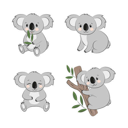 Cartoon koala bears set. Vector illustration for kids.