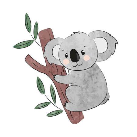 Cute cartoon koala isolated on white. Vector watercolor illustration. Ilustrace
