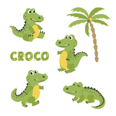Set of cute cartoon crocodiles. Vector illustration of alligators.