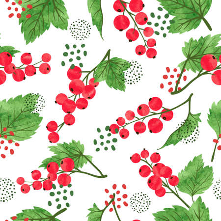 Seamless watercolor red currant pattern. Red ripe berries vector background