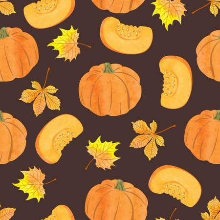 Seamless vector watercolor pumpkin pattern. Vegetable autumn background