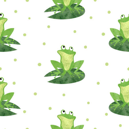 Cute watercolor frog pattern. Seamless vector background.