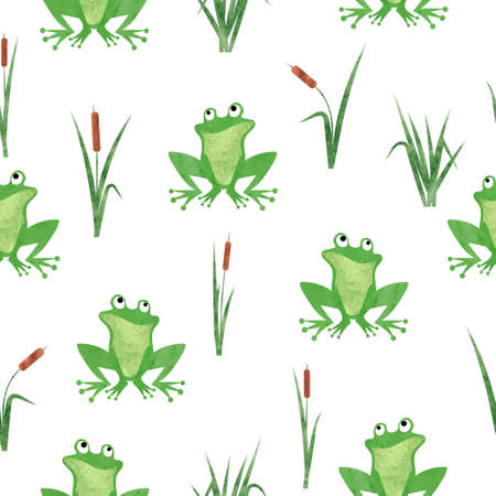 Cute watercolor frog pattern. Seamless vector marsh background.