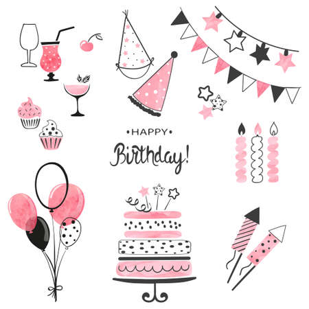 Birthday party icon set in pink and black colors. Vector hand drawn illustration