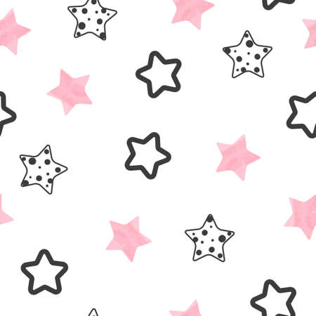 Stars pattern. Vector seamless background with pink and black stars.