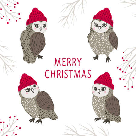 Set of cute cartoon owls in hats. Merry Christmas vector illustration.