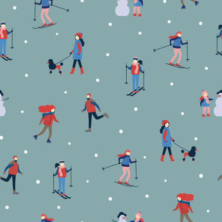 Seamless winter pattern with people. Holiday outdoor activities.