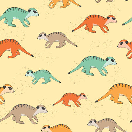Seamless cute Meerkat pattern. Colorful suricates.