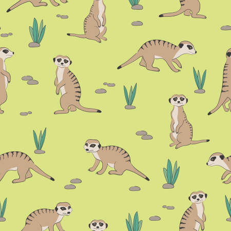Seamless cute Meerkats pattern. Desert background 矢量图像