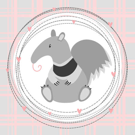 Cute cartoon little anteater vector illustration. Print for kids